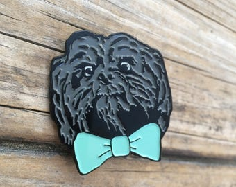 Bow Tie Dog Enamel Pin, Hard Enamel Pin, Brooch, Bow tie Pin, Lapel Pin, Shih tzu Pin, Limited Edition Pin, Gifts for him