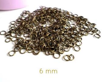 10 grams of jump rings open bronze 6 mm