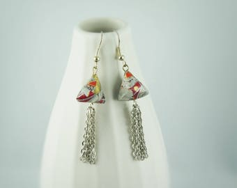 """Cheops"" earrings, origami paper"