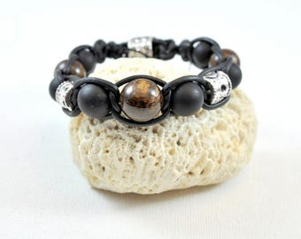 Bracelet leather stone-matte black onyx 14mm bronzite semi-precious 14,12 and 10 mm high quality