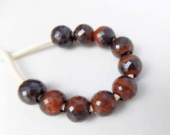 70% OFF Natural Iron Tiger Eye Faceted Handmade Beautiful Perfect Round Balls European Big Hole Beads 11mm 4mm Hole 10 Piece Free Shipping