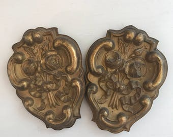 Antique Gold Embossed French Curtain Hardware, French Provincial Decor Curtain Ties