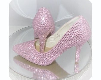 Baby pink wedding bridal bridesmaid crystal shoes