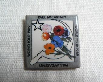 Vintage 80s Paul McCartney World Tour 1989 Pin / Button / Badge