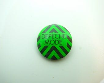 Vintage Early 80s Depeche Mode / Neon Green and Black - Pin / Button / Badge