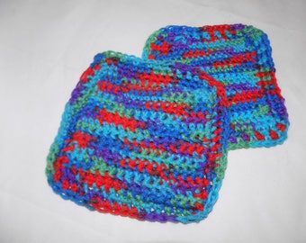 POT HOLDERS Hand Made CROCHETED Multi Colors Double Thick Pair