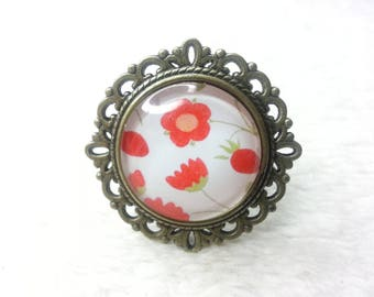 Liberty Mirabelle red round bronze ring