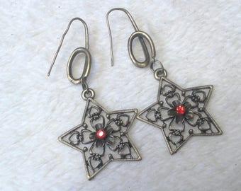 Earrings stars & red rhinestones