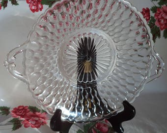 Vintage Indiana Glass Honeycomb handled Relish Dish, Honeycomb Glass