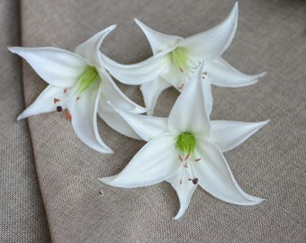 White Tiger Lily Head Blooms Real Touch Flowers Wedding Cake Toppers