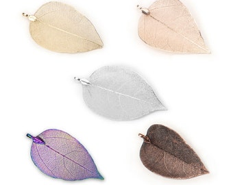 Real Nature Walnut Tree Leaf Pendant dipped in assorted colors  Plated Real Filigree Leaf for Jewelry Supplies.