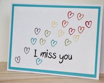 I Miss You Card.   Handmade I Miss You Greeting Card.  Missing You Card.  Heart I Miss You Card.  Blank I Miss You Card.  Love Greeting Card