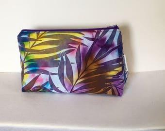 Cosmetic Bag, Single Project Knitting/Crocheting Bag, Batik Leaf Print Zipper Cosmetic Case,  Zipper Pouch,