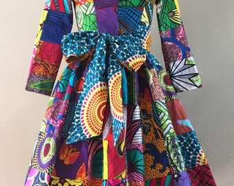 African Wax Print Genuine Patchwork Midi Dress With Pockets, 3/4 Sleeves and Optional Sash