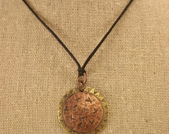 Etched Copper and Brass Disc Pendant (Cross-Punched)