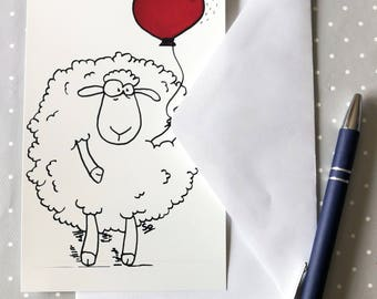 the sheep Wool - postcard - illustration