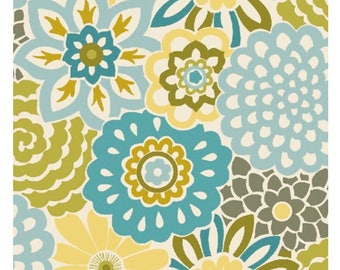 Waverly So Chic Aqua Button Blooms by Quilting Treasures Fabric - Fabric Yardage Sold By the Half Yard
