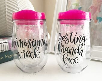 Personalized Wine Tumbler with Lid & Straw - Acrylic Wine Tumbler - Bridesmaid Gift - Custom Monogrammed Tumbler - Bachelorette Party Gift -