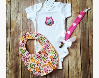 Baby Girl Owl Gift Set, Baby Shower Gift, Owl Onesie, Owl Gift Set, Baby Owl Outfit