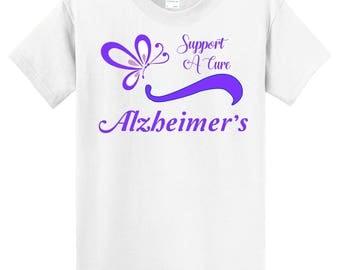 Alzheimer's Awareness Support white T shirt - Sizes 6 Months - adult 6X - 0616