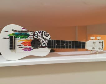 Dreamcatcher Hand painted ukulele, custom made for any request!