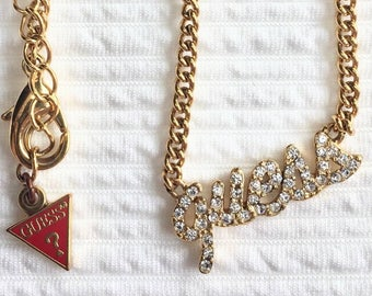 90s GUESS necklace gold chain with diamond pendant