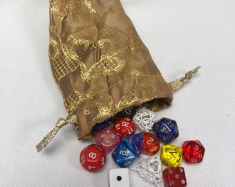 Gold Brocade Dice Bag