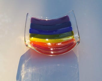 Rainbow Trinket Dish, Fused Glass, Ready to Ship, 9 x 9cm, Opaque Colours