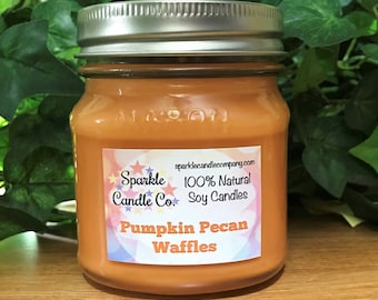 PUMPKIN PECAN WAFFLES - Fall Soy Candle - Scented Soy Candle - Homemade Candles - Soy Wax Candle - Pumpkin Candle
