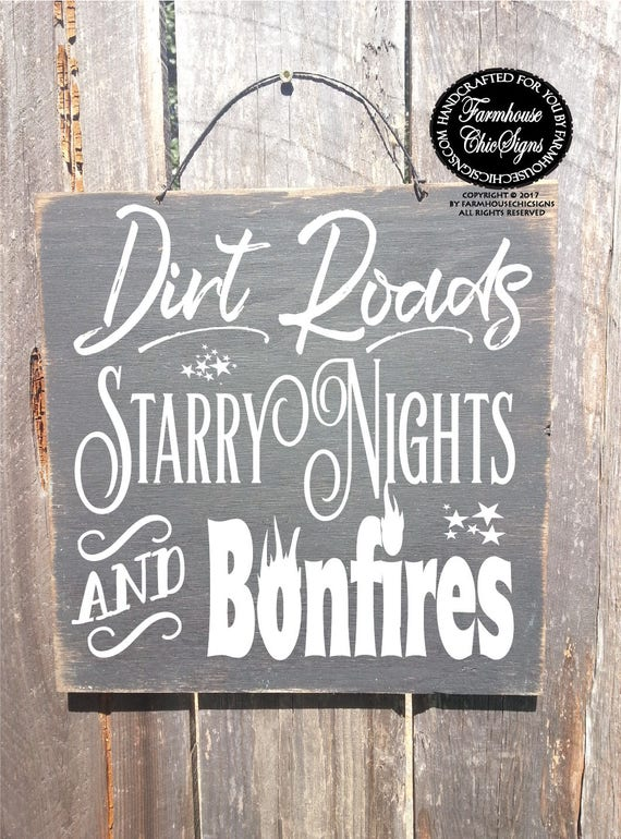 dirt road sign, country decor, country home decor, bonfire, bonfire sign, starry night, starry night sign, country wall decor