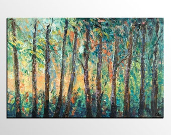 Landscape Oil Painting, Forest Tree Painting, Abstract Painting, Impasto Art, Canvas Painting, Heavy Texture Art, Abstract Art, Wall Art
