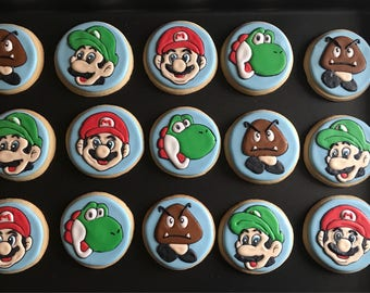 "Nintendo Super MARIO inspired vanilla sugar cookies  choose from bite size 2""  (x18) or 4"" cookies (x12) mushroom star flower brick todd"