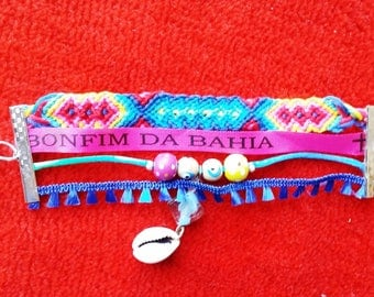 Blue and pink friendship bracelet cuff