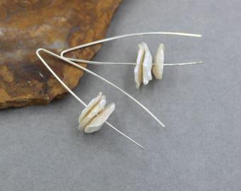 Flake Pearl Earrings, White Pearl Earrings, Wedding Earrings, Bridal Earrings, Sterling Silver