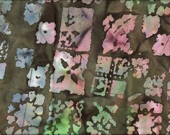 Tissu coton BATIK  Dégradés de verts, kaki, rose, bleu