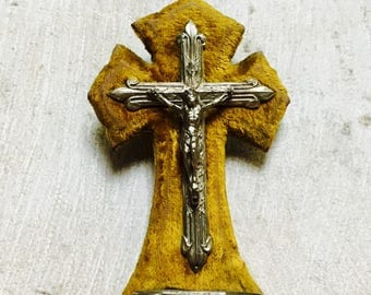 Antique French cross and Holy Water Font