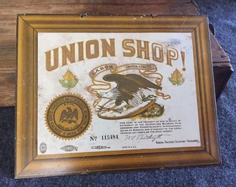 Vintage Barbershop Union sign