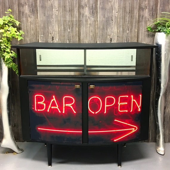 Retro cocktail bar neon sign print