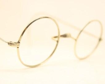 Antique Silver Tone 40mm Windsor Style Eyeglasses