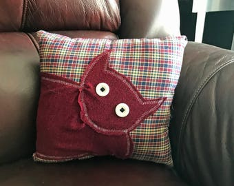 Small Repurposed Fabric Red on Plaid Cat Pillow