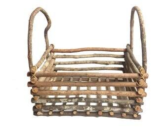Vintage frontier style wood basket