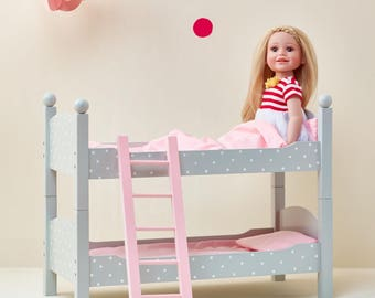"18"" Doll Bunk Bed Grey Polka Dots"