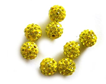 10 Yellow Rhinestone Disco Ball Beads 8mm