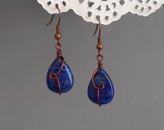 Natural Lapis Lazuli earrings Cooper jewelry wire wrapped Gemstone Earrings Blue teardrop earrings Blue gemstone Jewelry