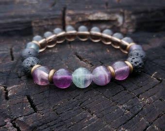 Fluorite / Smoky Quartz & Lava Rock Yoga Bracelet // Fluorite Gemstone Yoga Bracelet // Men's Yoga Bracelet // Unisex Wrist diffuser Bracele