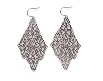Nickel Free Earrings Silver Boho Filigree Earrings Dangle Bohemian Filigree Earrings Titanium Earrings hypoallergenic Earrings Sensitive Ear