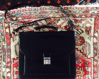 SALE- Vintage leren akte tas| leren attache koffer| office bag | long strap | lots of space| 90's