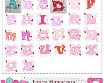 Valentine's Day Monogram A~Z applique,Valentine's Day Letters applique,Valentine's Day,Alphabet,26 letter,Fonts,Birthday letters.-1517