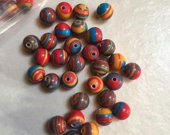 100 6mm multi color glass beads