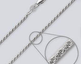 """Rope Style Silver Chain - 24"""""""